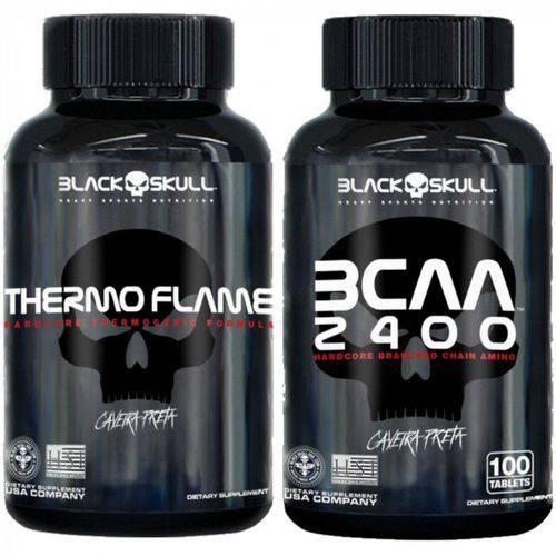 Combo Thermo Flame 120 Capsulas + 1 Bcaa 2400 - Black Skull