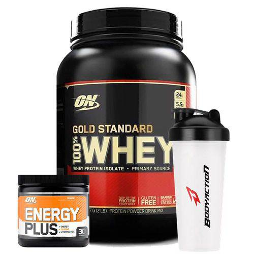 Combo Whey Gold Standard 2lb Energy Plus Laranja + Shaker Optimum Nutrition