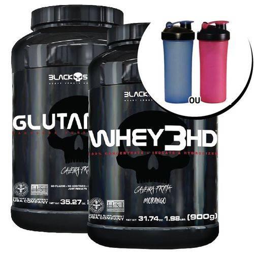 Combo - Whey 3hd 900g + Glutamina 1000g + Coqueteleira - Black Skull