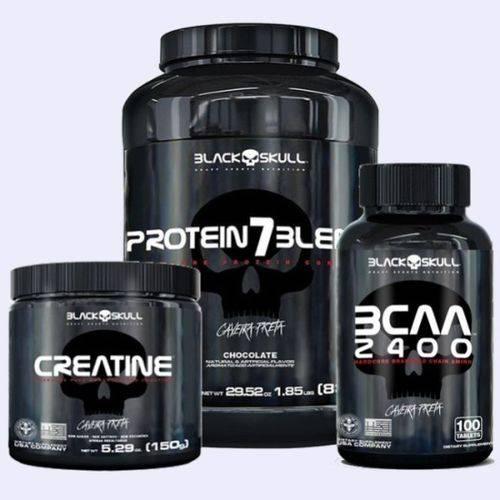 Combo Whey Protein 7blend 837g Creatine 150g Bcaa 2400 100 Tabs Black Skull