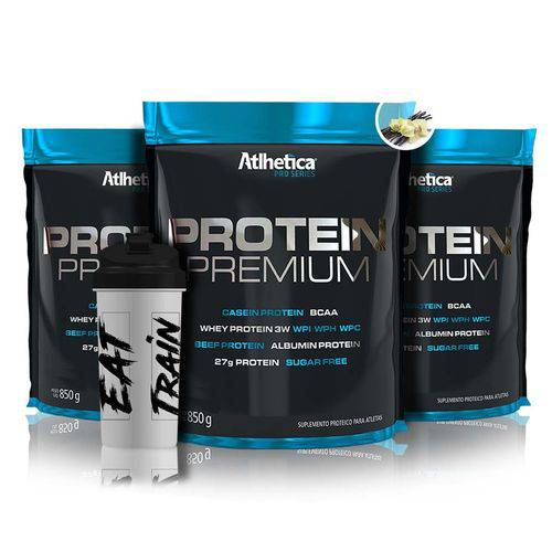 Combo 3x Protein Premium 850g + Coqueteleira - Atlhetica Nutrition - Atlhetica Nutrition