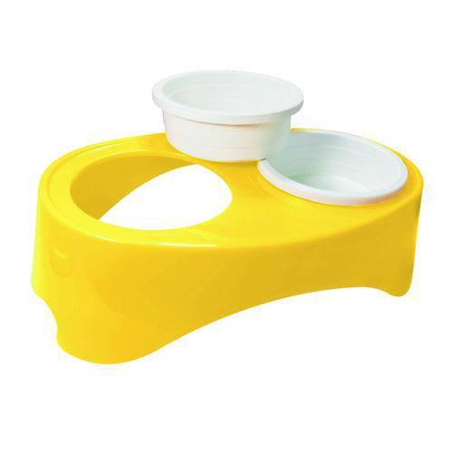 Comedouro Plast. Furacaopet - Super) Neck Duplo (amarelo