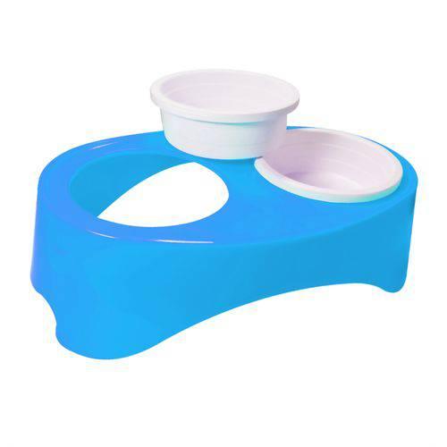 Comedouro Plast. Furacaopet - Super Neck Duplo (azul)