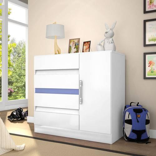 Cômoda 8000 4 Gavetas em Mdp Sistema Flex Color Branco Araplac