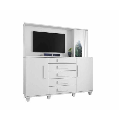 Cômoda Estrela com Painel TV e Espelho Branco - RV Móveis