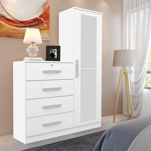 Cômoda Genialflex Aurora com Espelho 1 Porta 4 Gavetas Branca