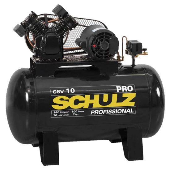 Compressor 10 Pés 100 Litros 140 Libras 2 HP Monofásico 220V - CSV-10/100 PRO - SCHULZ