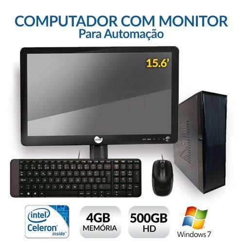 Computador com Monitor para Automação, Intel Dual Core, 4GB, HD 500, Windows 7
