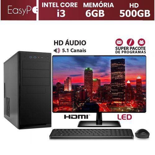 Computador EasyPC Standard 2 Intel Core I3 6GB HD 500GB Monitor LED 15.6 HDMI Mouse e Teclado Sem Fio