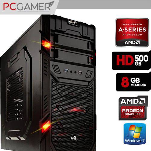 Computador Gamer Aerocool AMD 7300, Radeon HD 8470D, 500GB HD, 8gb Ram, Windows 7