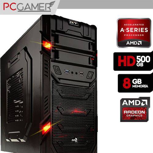 Computador Gamer Aerocool AMD A4 7300, Radeon HD 8470D, 8GB Ram, HD 500GB