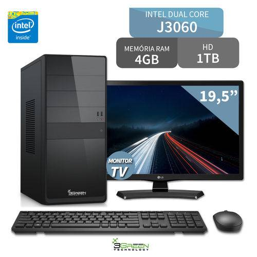 Computador 3green Intel Dual Core J3060 4GB 1TB com TV Monitor LG 19.5 20MT49DF-PS HDMI USB 3.0