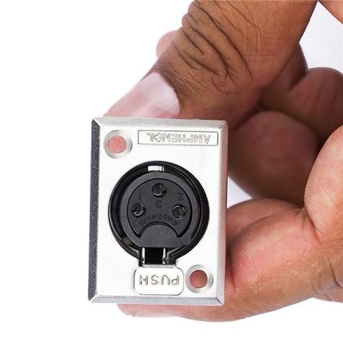 Conector XLR Fêmea Painel, AC3FPZ, Metal, Amphenol