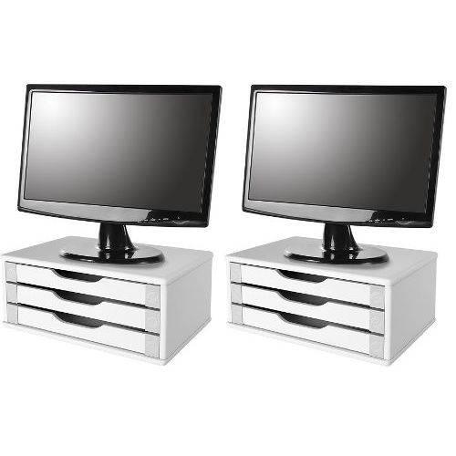 Conj com 2 Suportes para Monitor de Mesa em Mdf Branco com 3 Gavetas Brancas