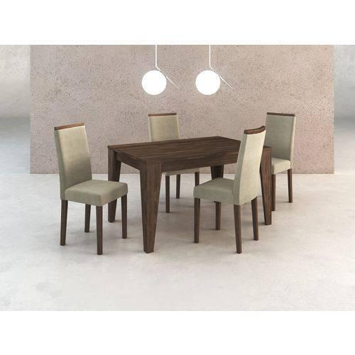 Conj. Sala de Jantar Mesa e 4 Cadeiras Madeira Maciça Pintada Tecido 419/nogal - Tecno Mobili