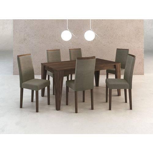 Conj. Sala de Jantar Mesa e 6 Cadeiras Madeira Maciça Pintada Tecido 420/nogal - Tecno Mobili