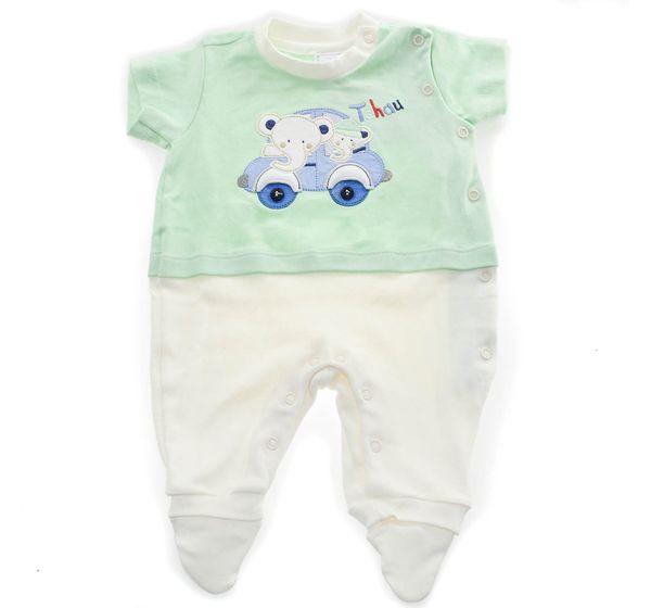 Conjunto 02 Peças Macacão Longo com Casaco Elefante Verde Baby Fashion 0 a 3 M