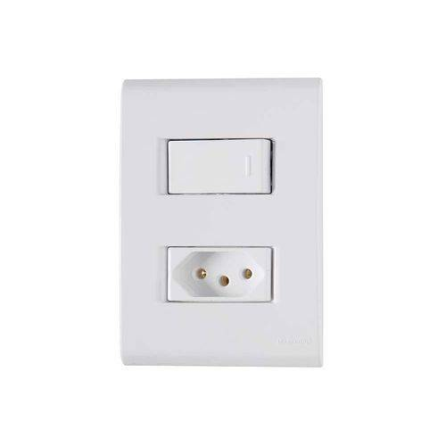 Conjunto 1 Interruptor Simples 1 Tomada 2P+T Tramontina