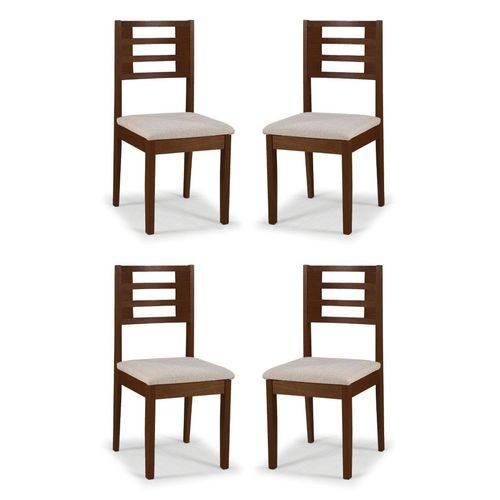 Conjunto 4 Cadeiras de Jantar Daisy Capuccino - ID Madeiras