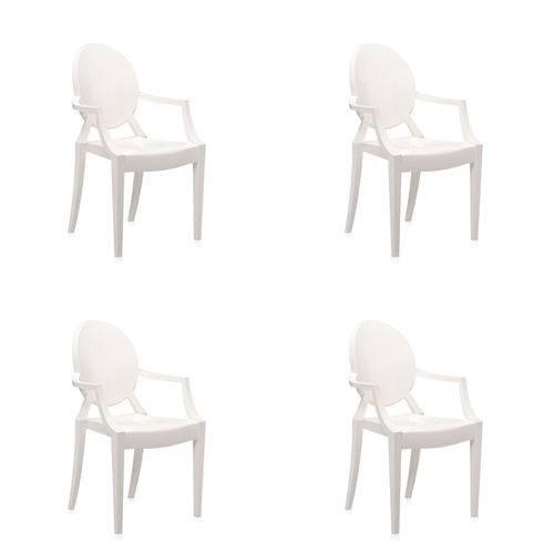 Conjunto 4 Cadeiras Louis Ghost com Braço Policarbonato Off White