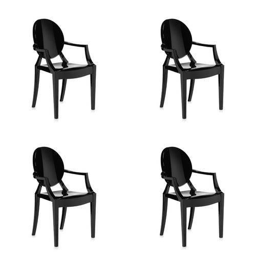 Conjunto 4 Cadeiras Louis Ghost com Braço Preta