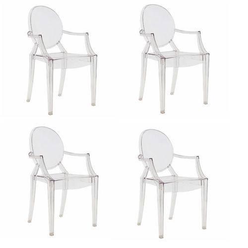 Conjunto 4 Cadeiras Louis Ghost com Braço Transparente