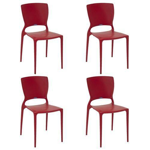 Conjunto 4 Cadeiras Tramontina Sofia Vermelho 92236040