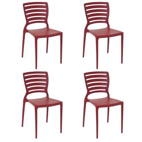 Conjunto 4 Cadeiras Tramontina Sofia Vermelho 92237040