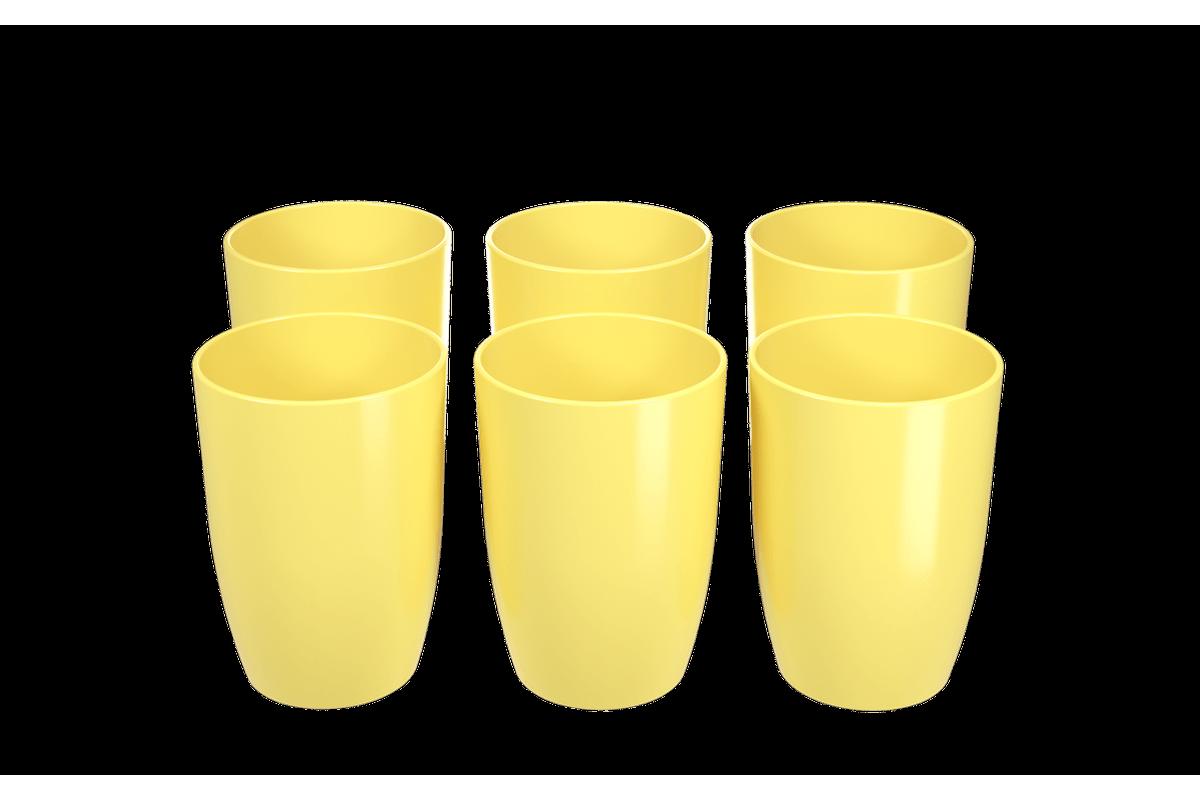 Conjunto 6 Copos Cozy 275 ML 7,4 X 7,4 X 10,2 Cm Amarelo Coza