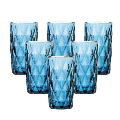 Conjunto 6 Copos Diamond 330 Ml Azul em Vidro - Lyor Design
