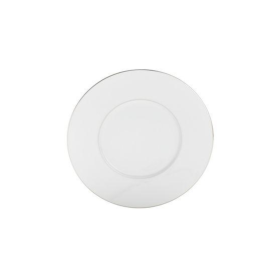 Conjunto 6 Pratos de Sobremesa 23cm de Porcelana Limoges Zen - Double Filet Platine