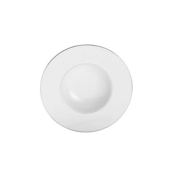 Conjunto 6 Pratos de Sopa 23cm de Porcelana Limoges Zen - Double Filet Platine