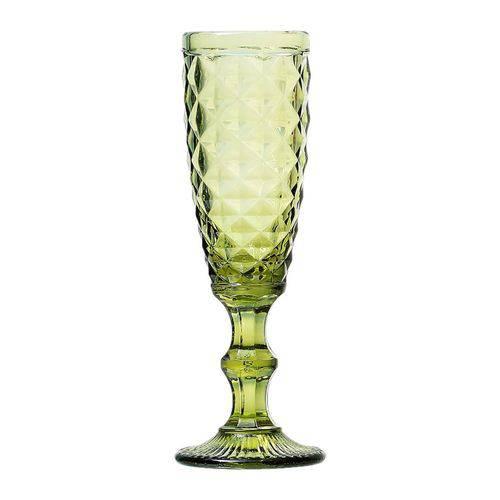 Conjunto 6 Taças para Champagne Bico de Abacaxi de Vidro Verde 140ml