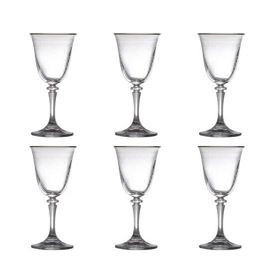 Conjunto 6 Taças para Vinho Branco de Vidro Sodo-Cálcico com Titanio Kleopatra Panto Dourado 250ml
