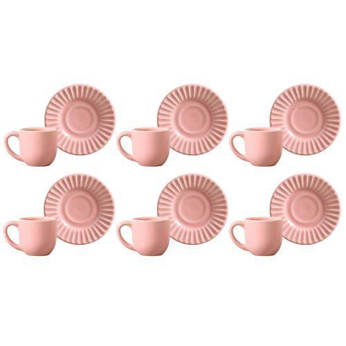 Conjunto 6 Xícaras de Café com Pires Plissé Rosa 378285 Porto Brasil