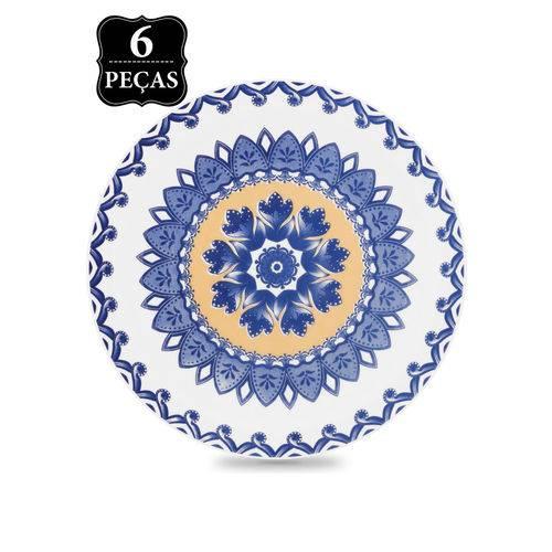 Conjunto 6pçs Pratos de Sobremesa Oxford Mail Order Floreal La Carreta Branco/Azul