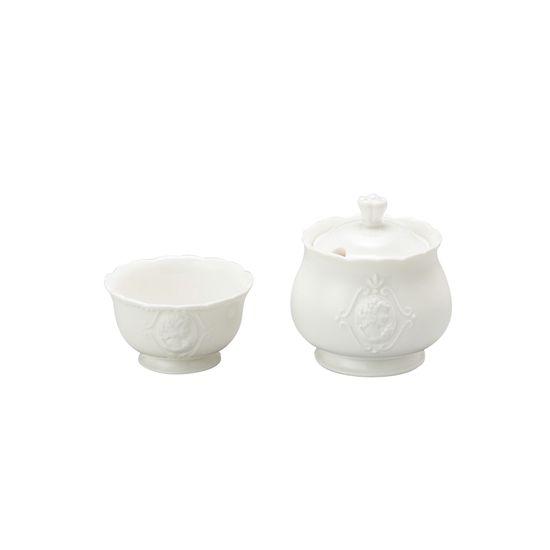Conjunto Açucareiro e Porta Adoçante de Porcelana Super White Queen