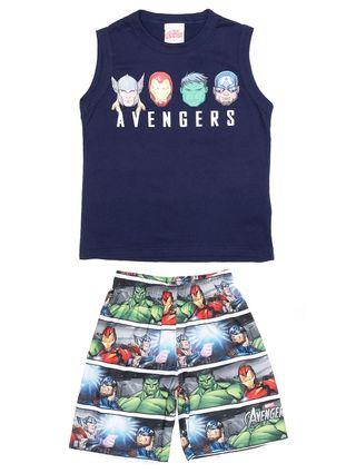 Conjunto Avengers Infantil para Menino - Azul/cinza
