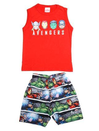 Conjunto Avengers Infantil para Menino - Vermelho/cinza