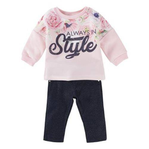 Conjunto Bebê Feminino Blusa Moletom Rosa Estampada Calça Jeans Baby Gijo