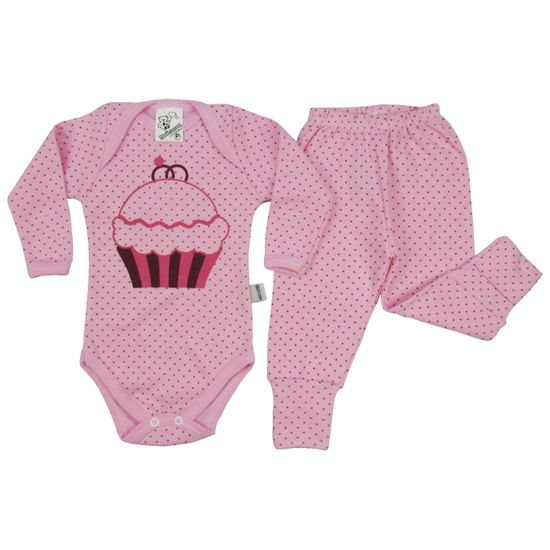 Conjunto Bebê Feminino Inverno Body Rosa Cupcake-P