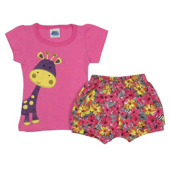Conjunto Bebê Feminino Verão Blusa Pink e Short Balonê Floral-3
