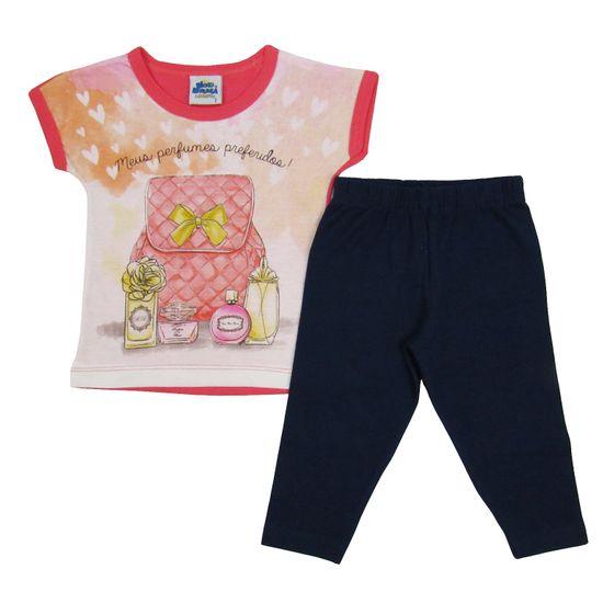 Conjunto Bebê Feminino Verão Blusa Salmão e Legging Azul Marinho-1
