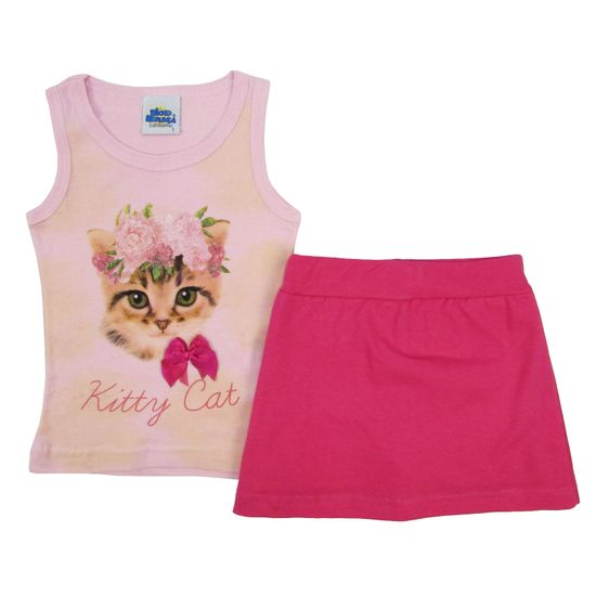 Conjunto Bebê Feminino Verão Regata Rosa e Short Saia Pink-3