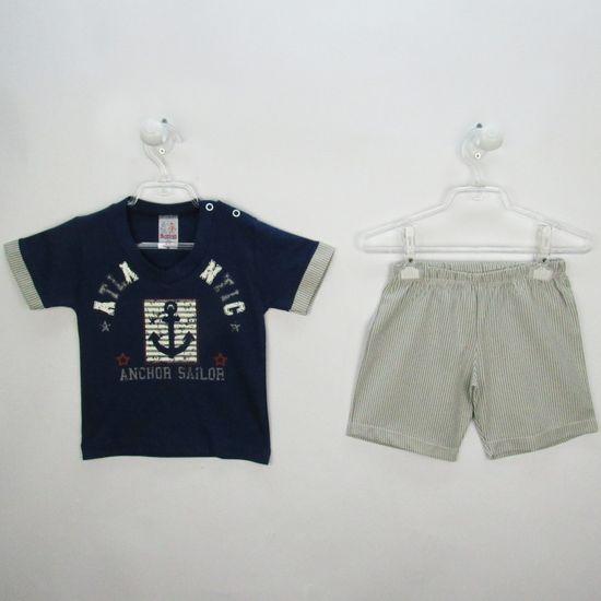 Conjunto Bebê Masculino Verão Camiseta Azul Marinho e Bermuda Listrada Âncora-P