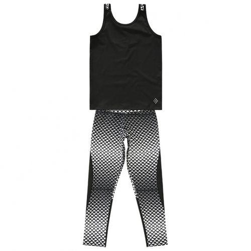 Conjunto Blusa Preta e Legging Estampada - 4