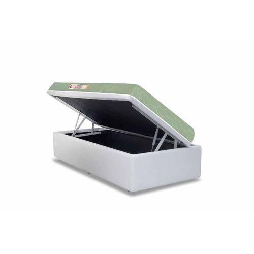 Conjunto Box- Colchão Castor D33 Sleep Max+Cama Box Baú Courino White- Solteiro 88x188