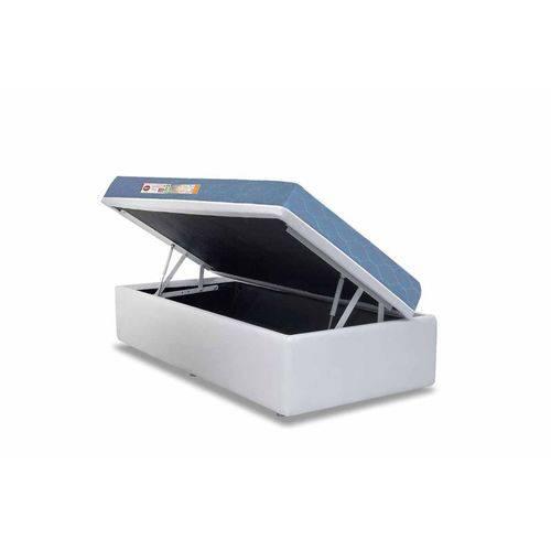 Conjunto Box- Colchão Castor D45 Sleep Max+Cama Box Baú Courino Bianco- Solteiro 88x188