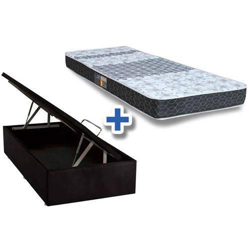 Conjunto Box Baú - Colchão Castor Molas Bonnel Class Slim + Cama Box Baú Nobuck Nerto Black - Solteiro 0,88x1,88