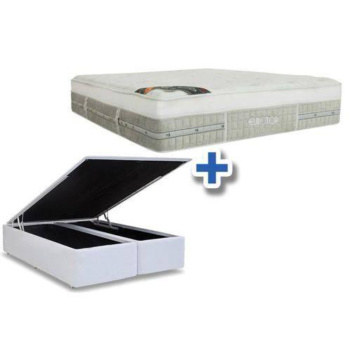 Conjunto Box Baú - Colchão Castor Molas Pocket Eurotop Summer & Winter + Cama Box Baú Courino Bianco - King 1,93x2,03